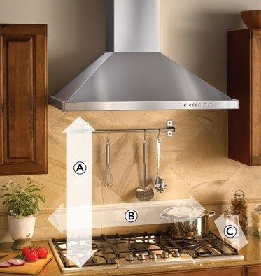 What should be the height of the range hood over the range?
