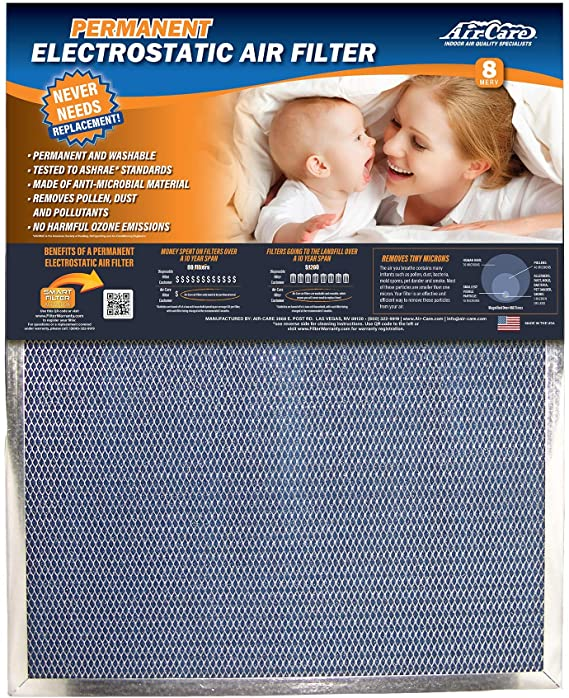 Air-Care 16x20x1 Silver Electrostatic Washable A/C Furnace Air Filter