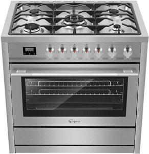 """Empava 36"""" Slide-In Single Oven Gas Range with 5 Sealed Burner Cooktop"""