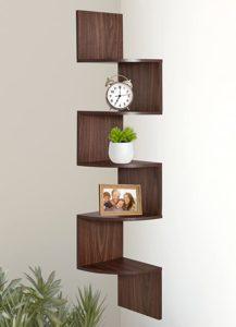 Greenco GRC2920 5 Tier Wall Mount Corner Shelves Walnut