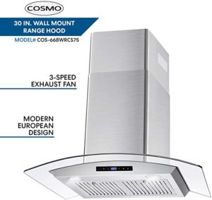 Cosmo 668WRCS75 Wall Mount Range Hood With Soft Touch Controls